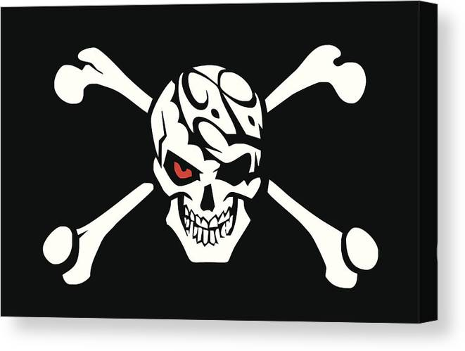 image regarding Pirate Flag Printable known as Jolly Roger - Pirate Flag Canvas Print