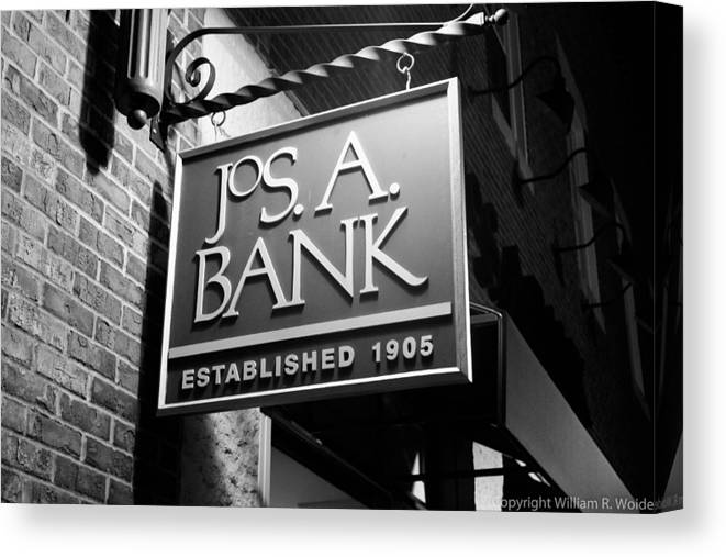 Store Sign Canvas Print featuring the photograph Jos. A. Bank by William Woide