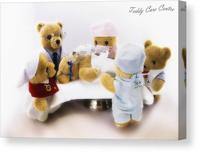 Care Flight Bears Canvas Print featuring the photograph Kevs Teddys 013 by Kevin Chippindall