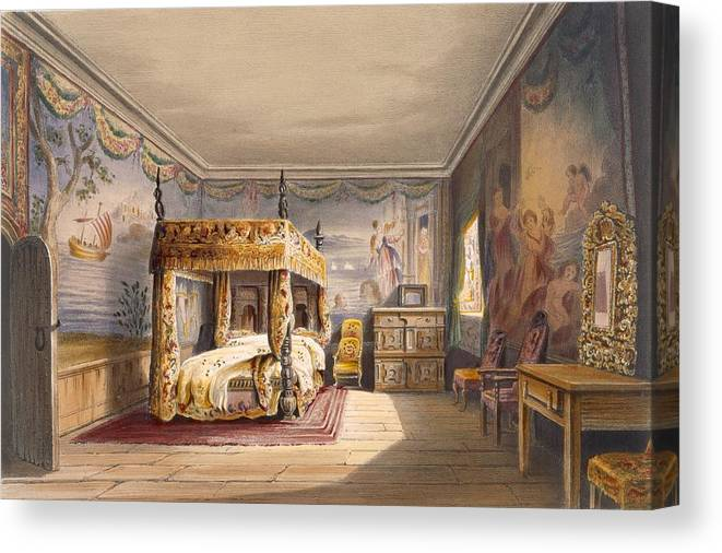 Cornish Stately Home Canvas Print featuring the drawing King Charles Room, Cotehele House by English School