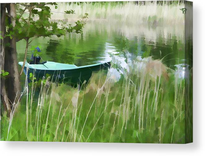 Boat Canvas Print featuring the photograph Kizhi Island Boat by Glen Glancy