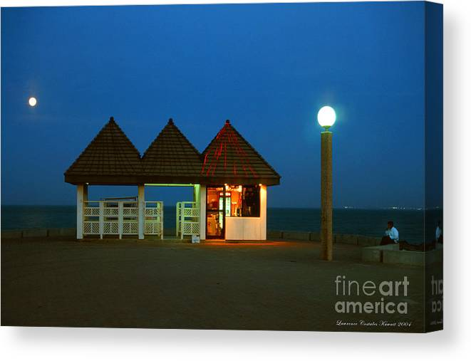 Pier Canvas Print featuring the photograph Kuwaiti Pier Snack Bar At Dusk by Lawrence Costales
