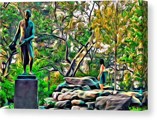 Philadelphia Canvas Print featuring the photograph Lady On The Rocks by Alice Gipson