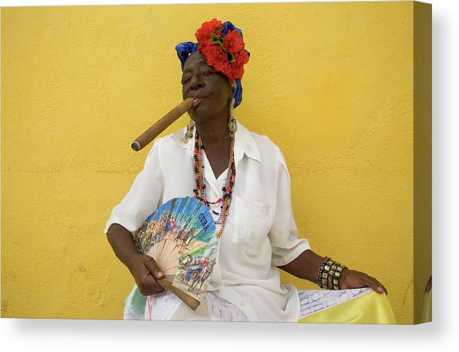 Smoking Canvas Print featuring the photograph Lady With Fan And Cigar, Old Havana by Karl Blackwell