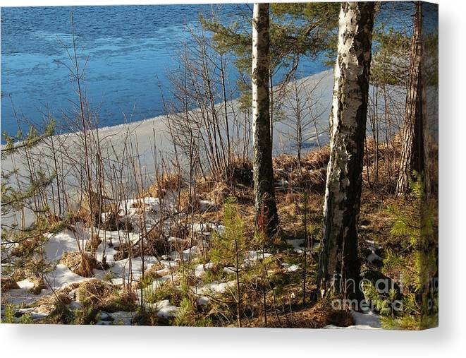Lake Canvas Print featuring the photograph Lake Partly Covered With Ice In Early Spring by Kerstin Ivarsson