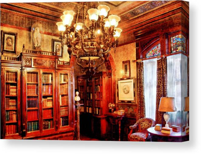 Savad Canvas Print featuring the digital art Lawyer - In The Library by Mike Savad