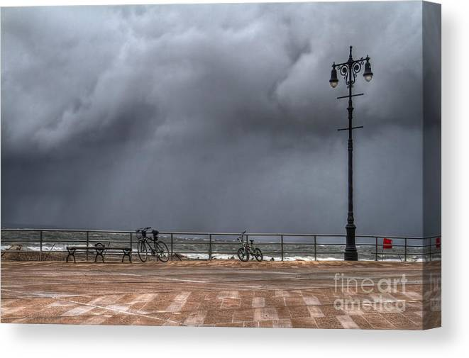 Bench Canvas Print featuring the photograph Left In The Power Of The Storm by Evelina Kremsdorf