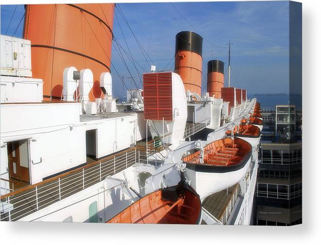 Queen Mary Canvas Print featuring the photograph Life Boats 02 Queen Mary Ocean Liner Port Long Beach Ca by Thomas Woolworth