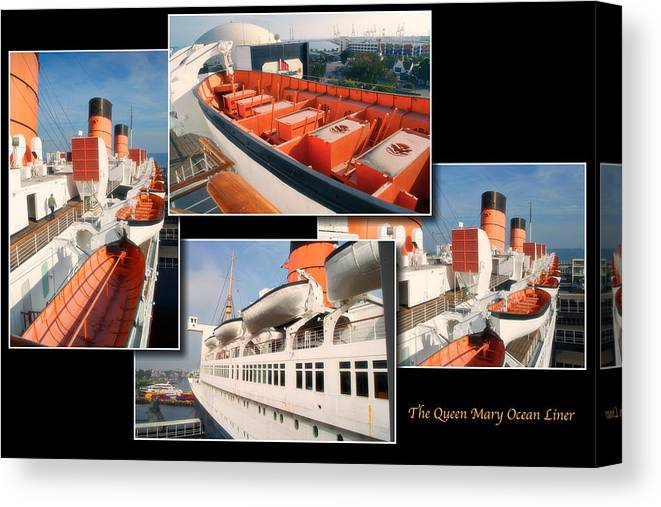 Queen Mary Canvas Print featuring the photograph Life Boats Collage Queen Mary Ocean Liner Long Beach Ca by Thomas Woolworth