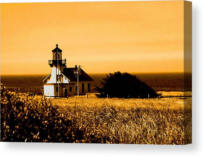 Lighthouse Canvas Print featuring the photograph Lighthouse In Autumn by Joseph Coulombe