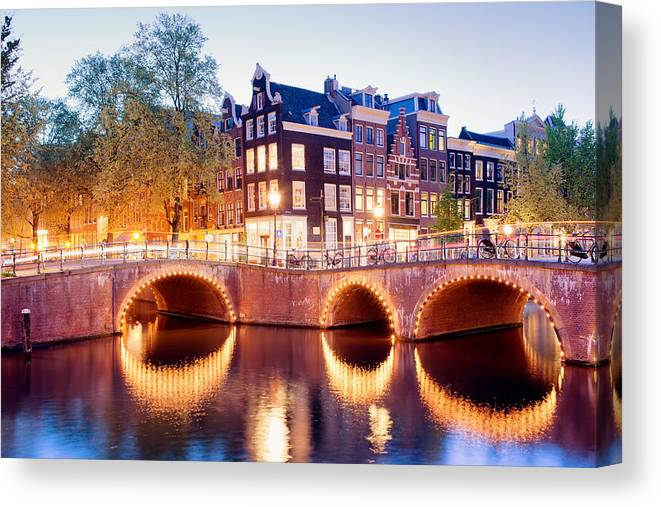 Amsterdam Canvas Print featuring the photograph Lights Of Amsterdam by Artur Bogacki