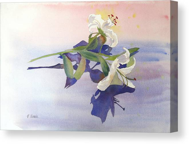 Lily Canvas Print featuring the painting Lilies At Rest by Patricia Novack