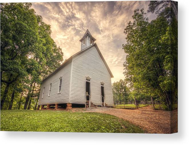Church Canvas Print featuring the photograph Little White Church by Malcolm MacGregor
