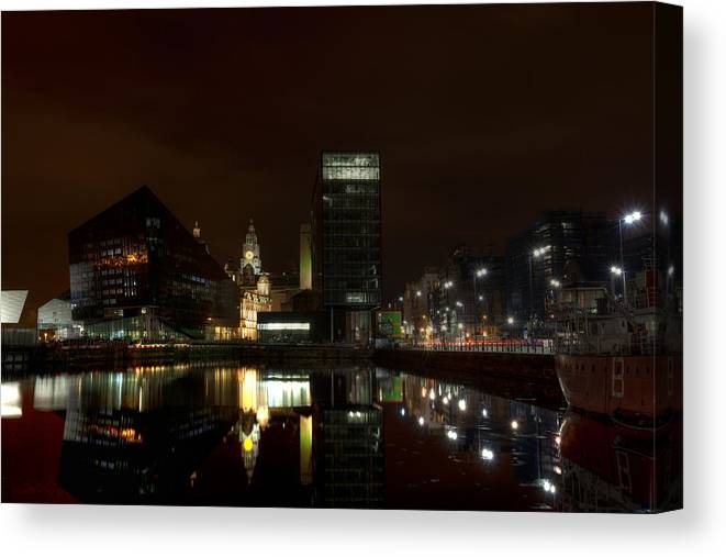 Liverpool Canvas Print featuring the photograph Liverpool Docks At Night by Beverly Cash