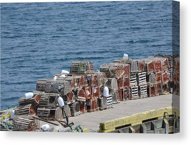 Wooden Lobster Pots Canvas Print featuring the photograph Lobster Pots by Colleen English