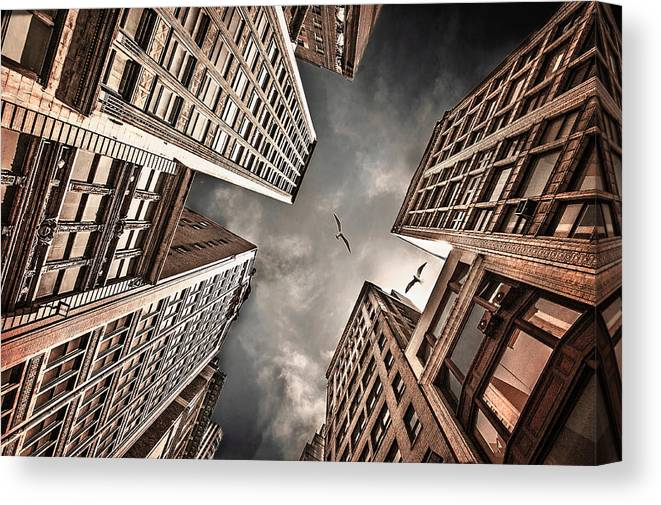 Buildings Canvas Print featuring the photograph Locked In Civilization by Carmit Rozenzvig