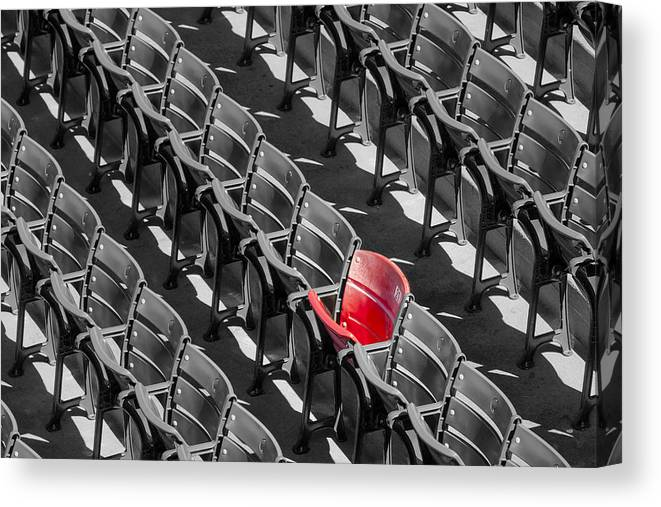 #21 Canvas Print featuring the photograph Lone Red Number 21 Fenway Park Bw by Susan Candelario