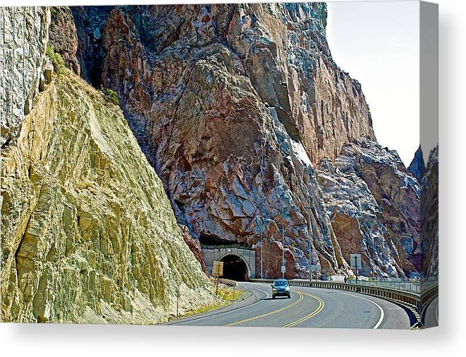 Longest Tunnel In Wyoming By Buffalo Bill Reservoir On Highway 14-wyoming  Canvas Print