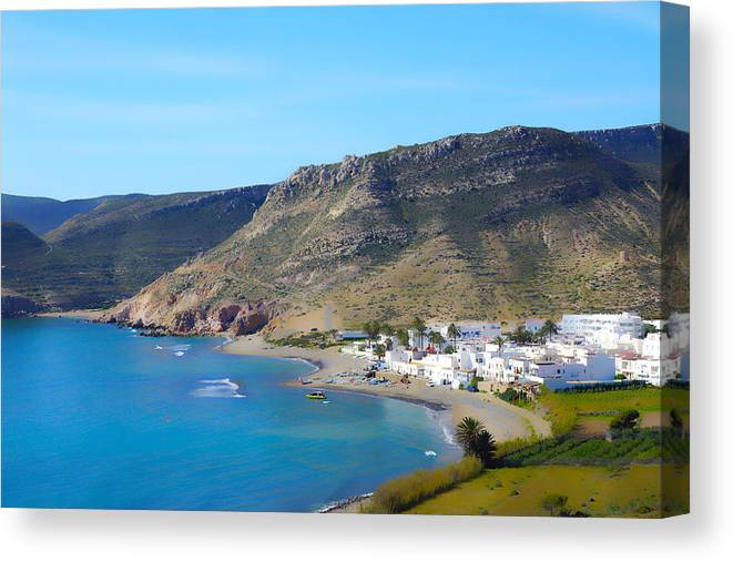 Sea Canvas Print featuring the photograph Looking Down On Las Negras by Digby Merry