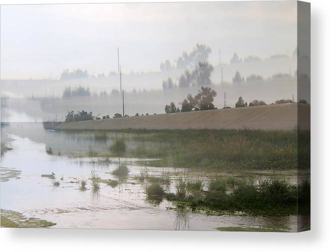 Landscape Canvas Print featuring the photograph Los Angeles Riverbed / Multi Parallel Effect by Robert Butler