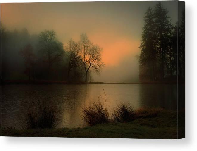 Autumn Canvas Print featuring the photograph Lovely Dawn by Marek Boguszak