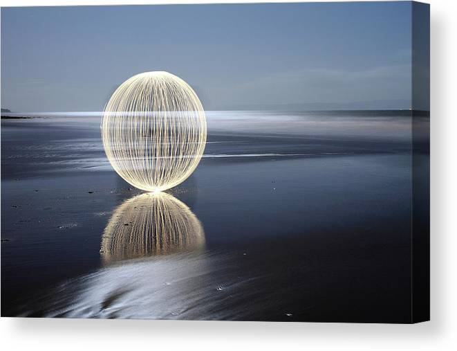 Light Painting Canvas Print featuring the photograph Low Tide Reflection by Andrew John Wells