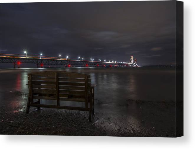 Mackinac Bridge Canvas Print featuring the photograph Mackinac Bridge And Bench by John McGraw