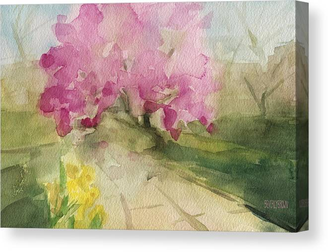 Landscape Canvas Print featuring the painting Magnolia Tree Central Park Watercolor Landscape Painting by Beverly Brown Prints