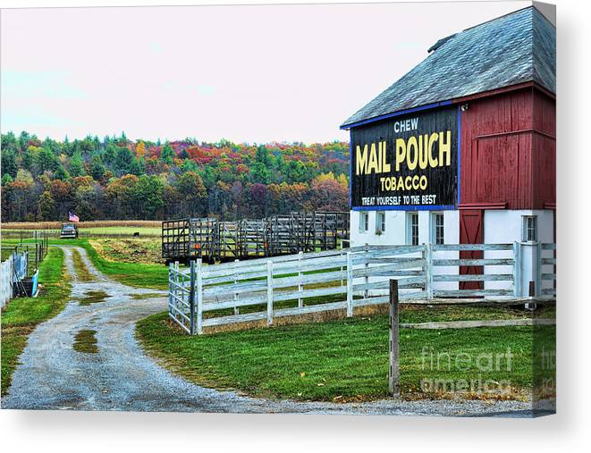 Paul Ward Canvas Print featuring the photograph Mail Pouch Tobacco Barn In The Fall by Paul Ward