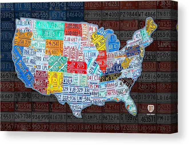 Map Of The United States In Vintage License Plates On American Flag - American-flag-us-map