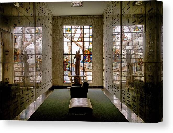 Glass Art Canvas Print featuring the photograph Mausoleum Stained Glass 04 by Thomas Woolworth