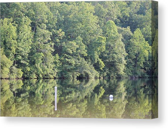 Reflections Canvas Print featuring the photograph Mckamey Lake Calm Reflections by Robin Vargo