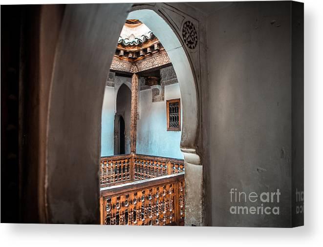 Morocco Canvas Print featuring the photograph Medrassa In Marrakech by Sabino Parente