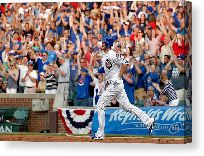 Second Inning Canvas Print featuring the photograph Miami Marlins V Chicago Cubs by Jon Durr