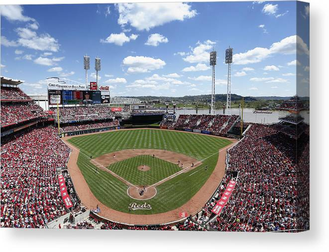Great American Ball Park Canvas Print featuring the photograph Miami Marlins V Cincinnati Reds by Joe Robbins