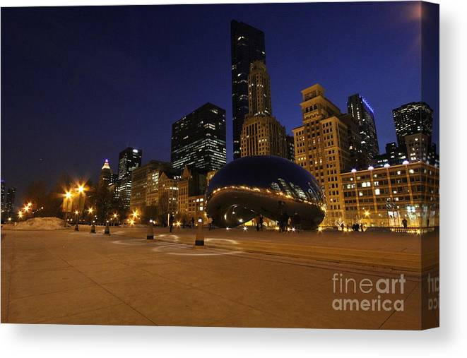 Chicago Canvas Print featuring the photograph Millennium Park At Night by Michael Paskvan