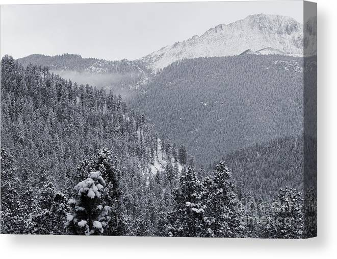 Beautiful Canvas Print featuring the photograph Misty Pikes Peak by Steve Krull