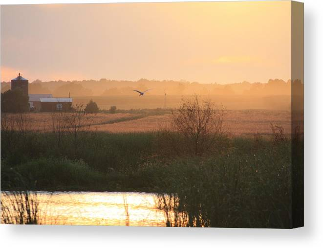 Sunset Canvas Print featuring the photograph Misty Southern Indiana Sunset by Diane Merkle