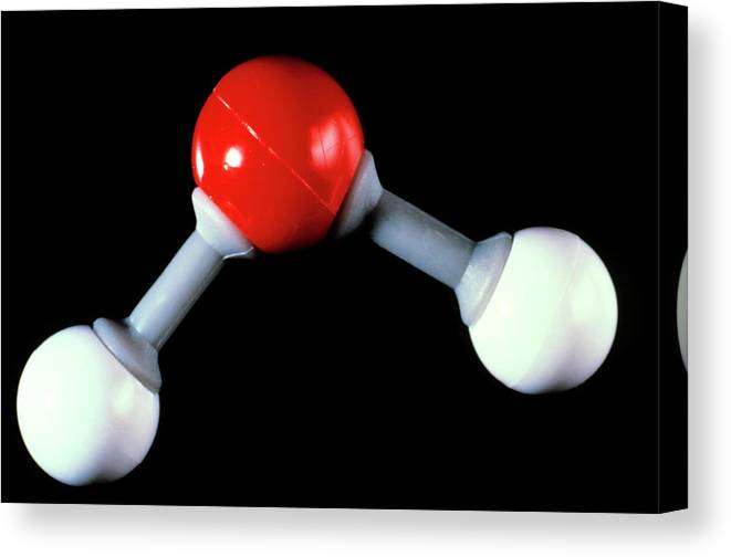 Water Canvas Print featuring the photograph Model Of Water Molecule by Adam Hart-davis/science Photo Library