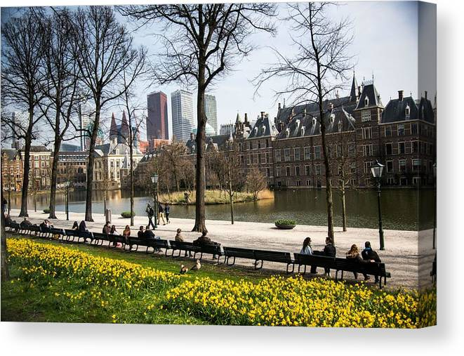People Canvas Print featuring the photograph Modern And Old Buildings In The Hague, Netherlands by Education Images