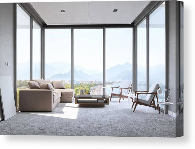 Modern Minimalist Living Room With Panoramic Ocean View Canvas Print