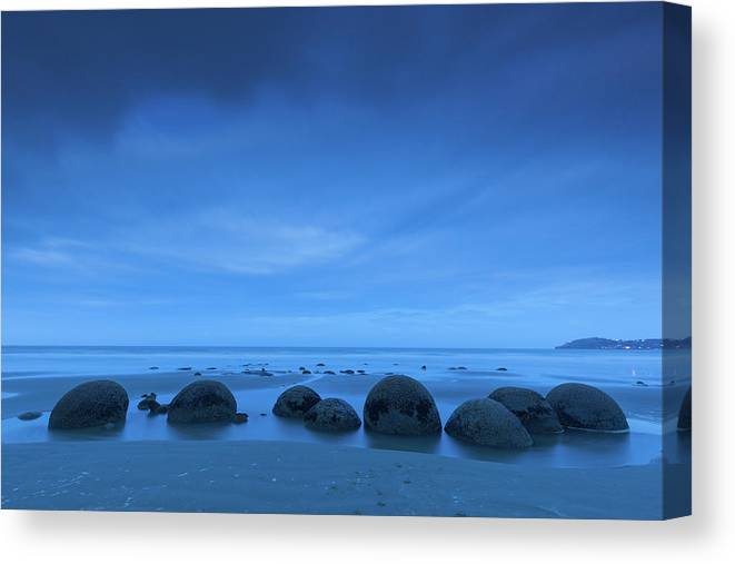 Photography Canvas Print featuring the photograph Moeraki Boulders Also Known As Te by Panoramic Images