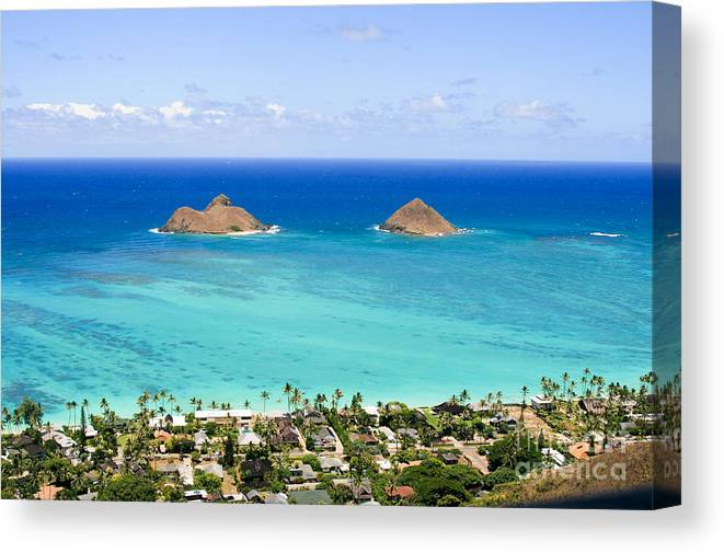 Kailua Canvas Print featuring the photograph Mokulua Islands by Laarni Montano