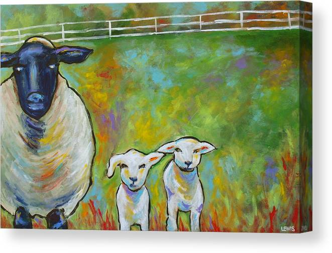 Lamb Canvas Print featuring the painting Mom And Kids by Ellen Lewis