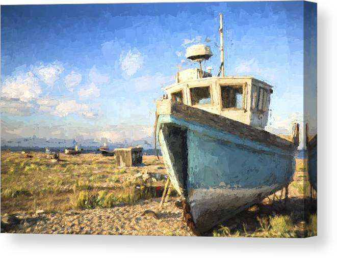 Landscape Canvas Print featuring the photograph Monet Style Digital Painting Abandoned Fishing Boat On Beach Landscape At Sunset by Matthew Gibson