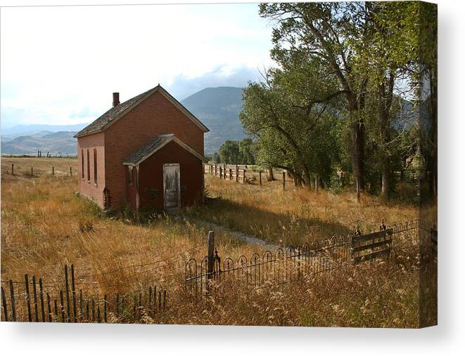 Montana Canvas Print featuring the photograph Montana Schoolhouse by Jesse Chitwood