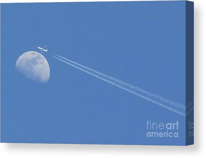 Moon Canvas Print featuring the photograph Moon Landing. by Evelyn Hill