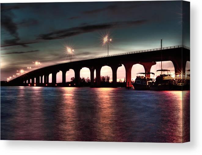 Vero Beach Canvas Print featuring the photograph Moonlight Bridge by Jerry Cutshall