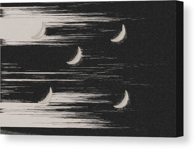 Black And White Canvas Print featuring the photograph Moons by Gary Pavlosky