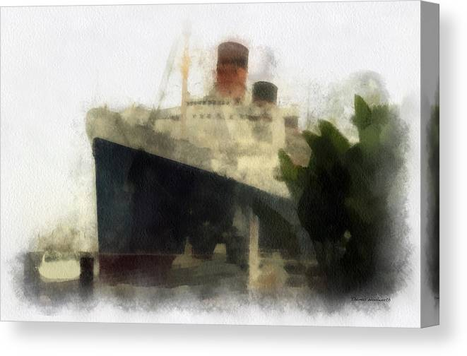 Queen Mary Canvas Print featuring the photograph Morning Fog Queen Mary Ocean Liner 01 Photo Art 01 by Thomas Woolworth